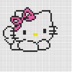 Hello Kitty Cross Stitch or Perler Bead Pattern Fuse Bead Patterns, Kandi Patterns, Perler Patterns, Beading Patterns, Beaded Cross Stitch, Cross Stitch Charts, Cross Stitch Patterns, Modele Pixel, Kawaii Cross Stitch