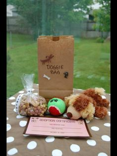 1st birthday, puppy party, dog party, party favors, adopt-a-puppy