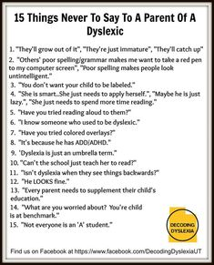 Decoding Dyslexia Utah Spells Out 15 Things Never to Say to Parent of a Child with Dyslexia | Reading Rockets