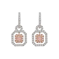 Estate Betteridge Collection Pink & White Diamond Drop Earrings