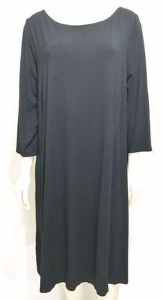 J Jill Wearable Womens Stretch XL Black 3/4-Sleeve Knee-Length Dress Scoop Neck #JJill #StretchBodycon #WeartoWork