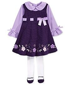 Blueberi Boulevard Baby Girls' 3-Pc. Flowers Jumper, Top & Footed Tights Set