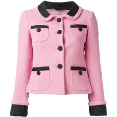 Moschino cropped jacket ($1,115) ❤ liked on Polyvore featuring outerwear, jackets, moschino, moschino jacket, 3/4 sleeve jacket, pink jacket and pink cropped jacket