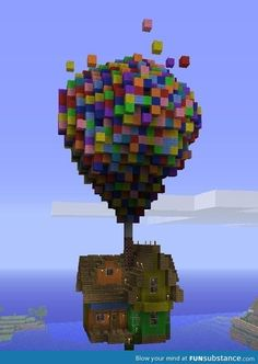 Up in Minecraft! Omg love that movie and I'm totally gonna do this idea right now!