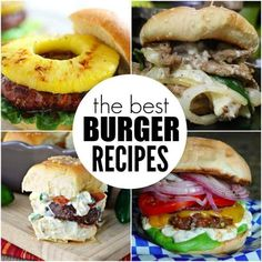 Try the best burger recipes! 35 of the best juicy burger recipes that you will love. Find the best grilled burger recipe from beef, poultry and meatless! There is a burger for everyone! Best Grilled Burgers, Grilled Burger Recipes, Roast Recipes, Grilling Recipes, Grilling Tips, Best Juicy Burger Recipe, Good Burger, Recipe Collection, The Best