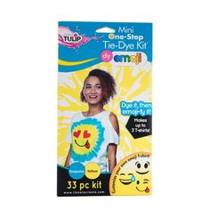 The Tulip DIY emoji mini one-step tie-dye kit is bursting with silly fun! Just grab a T-shirt, dye it, then emoji-fy it! kit makes up to 3 t-shirts. Includes enough supplies to make up to 3 Emoji t-shirts. Diy Tie Dye Socks, Diy Tie Dye Shirts, How To Tie Dye, How To Dye Fabric, Emoji Fabric, Tulip Tie Dye, Emoji Design, Tie Dye Kit, Tie Dye Crafts