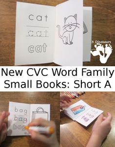 New CVC Word Family Small Books: Short A:  -ad, -ag, -am, -an, -ap, -ar, -at from 3 Dinosaurs