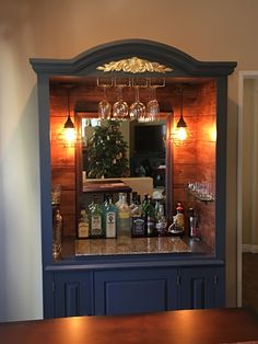 Rustic dry bar conversion from a TV Armoire. The bar top is a unique found piece Repurposed Furniture Armoire Bar conversion Dry piece Rustic Top Unique Armoire Bar, Bar Hutch, Furniture Projects, Home Projects, Diy Furniture, Dry Bar Furniture, Armoire Makeover, Furniture Makeover, Hutch Redo