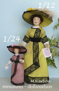 dollhouse porcelain dolls, scale one inch & half inch. To order https://www.etsy.com/shop/marianarbon