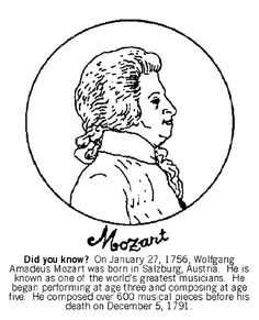 color the picture of composer wolfgang amadeus mozart did you know on january 27