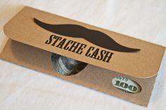 Money Gift Card with Matching Envelope - Original Mustache Cash Set via Etsy