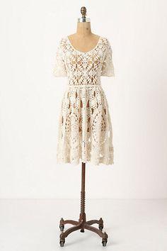 Would love to crochet a dress like this! diy crochet motif chiffon dress   sunday dress round-up: cream