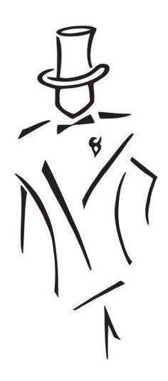 Line Drawing Of A Man In Tuxedo cakepins.com