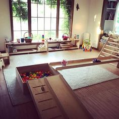 Mopped and ready for our play group - montessori Playroom Montessori, Montessori Toddler, Infant Toddler Classroom, Toddler Rooms, Home Daycare, Daycare Rooms, Baby Play, Kid Spaces, Kids Bedroom