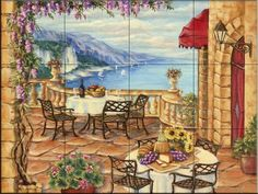 Afternoon Lunch by Rita Broughton - Kitchen Backsplash / Bathroom wall Tile Mural by Tile Mural Store-Landscapes. $180.00. This beautiful artwork by Rita Broughton has been digitally reproduced for tiles and depicts a nice oceanview from an Italian restaurant. Waterview tile murals are great as part of your kitchen backsplash tile project or your tub and shower surround bathroom tile project. Water view images on tiles such as tiles with beach scenes and Mediterranean scenes on t...