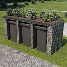 Mur en gabion Check more at garten. Small Gardens, Outdoor Gardens, Gabion Wall, Gabion Fence, Paint Your House, Design Exterior, Garden Planning, Backyard Landscaping, Amazing Gardens
