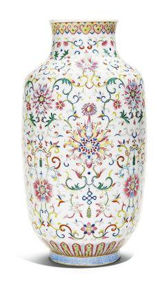A famille-rose 'lotus' lantern vase, Daoguang seal mark and period