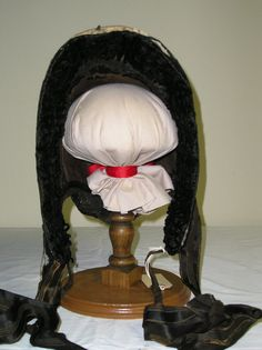1860s Black silk taffeta gathered bonnet by MartinsMercantile, $235.00