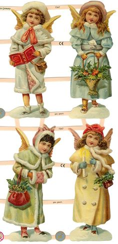 Snow angel scraps from Germany ~ perfect for card making and Christmas ornaments