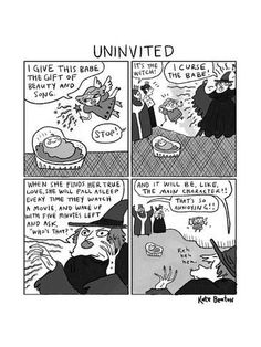 Premium Giclee Print: Uninvited -- a 4-panel cartoon of a Sleeping Beauty parody, in which the c... - New Yorker Cartoon : 12x9in