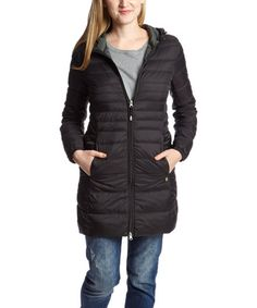 Take a look at this Black Drawstring-Hood Puffer Coat - Women on zulily today!