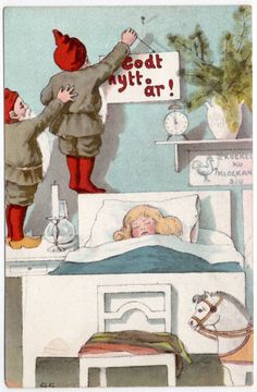 Postcard Gnomes Hanging a New Year Sign Over a Sleeping Girl~107512 #NewYear