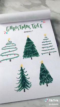 Christmas Doodles, Christmas Drawing, Christmas Art, Christmas Decorations, How To Draw Christmas Tree, Diy Christmas Cards, Christmas Scrapbook, Xmas Tree, Bullet Journal Christmas