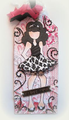 Julie Nutting Doll Tag Black and Pink - Designs By Dawn Rene
