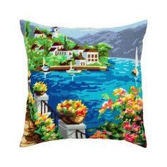 "Needlepoint//Tapestry Pillow Cover DIY Kit /""Seychelles/"""