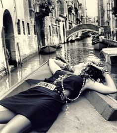 Madonna photographed in Venice during the making of the 1984 music video Like a Virgin