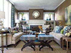 Neutral room decor with green and blue accents