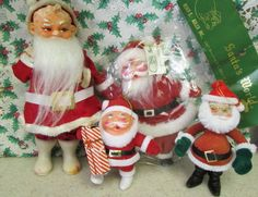 Here is an assorted lot of 4 Santa Claus ornaments decorations. Heres what is included:  1-Santas World new in package 6.5 tall flocked hard flocked body kind of flat Santa made in Hong Kong.  1-hard plastic flocked Santa ornament holding a package. Chenille beard 4.25 tall  1-hard plastic flocked Santa ornament with wire glasses and a big tummy, chenille beard and trim.4.5 tall.  1-hard plastic jolly-faced Santa with posable arms, chenille trim, fabric sack, white plastic boots and angel…