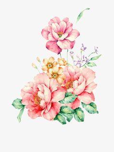 Aquarela de Flores, Romântico, Pintadas à Mão, Aquarela De Flores Free Download Free DownloadImagem PNG