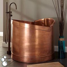 """40"""" Asti Copper Japanese Style Soaking Air Bath Tub"""
