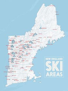 This heavyweight poster is a comprehensive map of lift-served skiing in New England- including everything from big resorts to municipal ski hills. Private ski areas are included but with much lighter