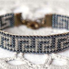 Greek key bracelet, bead loom bracelet, greek meander,hematite black, ancient greece,peace, dove charm, czech glass bead bracelet, geometric