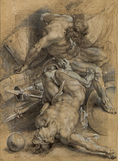 "hadrian6: ""Two Prisoners Chained. 1600-08. Peter Paul Rubens Flemish 1577-1640. black stone and stump, pen,brown ink enhanced with white gouache. http://hadrian6.tumblr.com """