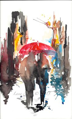 Love Paris Romance Kiss Original Watercolor Painting by Lana