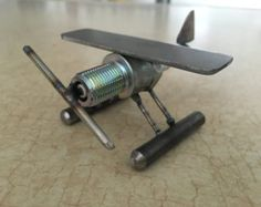 Hand Made Metal Spark Plug Airplane WW1 WW2 by NicksNacs on Etsy