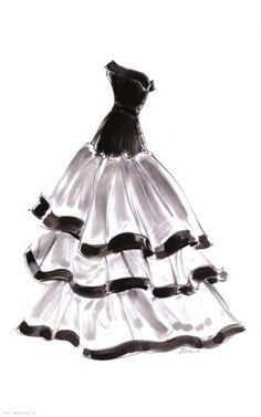 Black and white sketched wedding-inspired dress.
