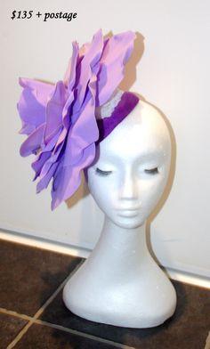 large flower fascinator hat Desinger made One Of A Kind Black, white grey felt base desginer hand made by TwistedInTheTropics on Etsy