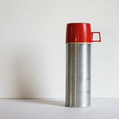 Vintage Thermos - Mid Century Red and Silver Aluminum- 50s 60s Retro Kitchen Office