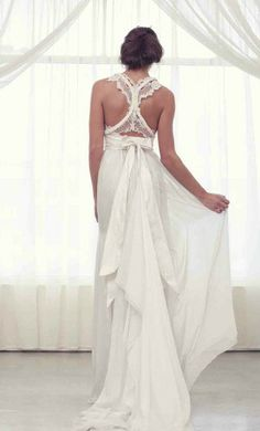 Lacy racerback wedding dress.