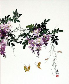 Japanese Ink Painting, Chinese Painting, Painting & Drawing, Watercolor Paintings, Chinese Brush, Ink Wash, Wisteria, Water Colors, Drawing Ideas