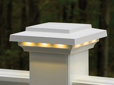 AZEK Lighted Cap. Azek lighting is designed to complement Azek and TimberTech railings to provide a polished looking lighting system for your deck. Deck lighting both extends the use of a deck far into the night, and adds safety on stairways and thresholds.