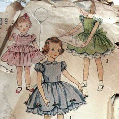 1950s Vintage Girls Dress Pattern With 2 Skirt by kalliedesigns, $8.00