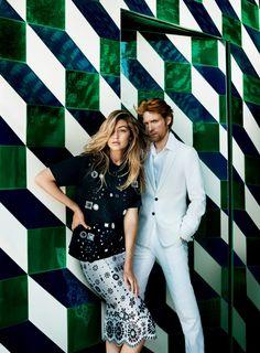 Gigi Hadid & Domhnall Gleeson pose in Portugal for Vogue US November 2015 by Mario Testino [fashion]