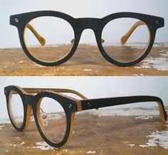 48c974a96c2d Super graphic handmade black textured acetate round eyeglasses   wood-inspired  black glasses with tan contrast.
