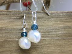 Hot!!! $0.99 Today  Blue Quartz Freshwater Pearls Earrings for her Wedding or Birthday gift.