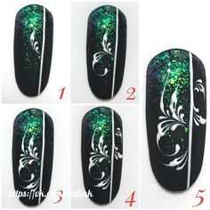 ornaments nails Happy New Year Nail Manicure, Toe Nails, Nail Art Arabesque, Monogram Nails, Swirl Nail Art, Mickey Nails, Black Acrylic Nails, Nail Polish Art, Xmas Nails